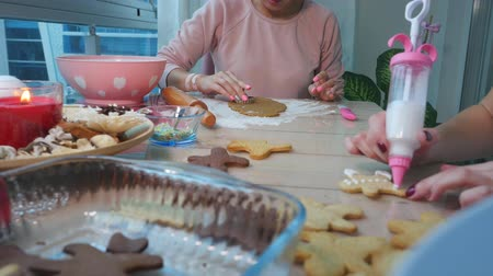 sugar cookies : Young girls decorates ginger cookies Christmas winter evening. Women icing ornament with white glaze