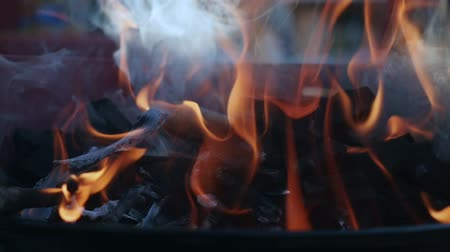 outing : Fire wood charcoal for barbecue, orange fire in metal grill brazier. Preparation for summer BBQ party. Summer chill concept Stock Footage