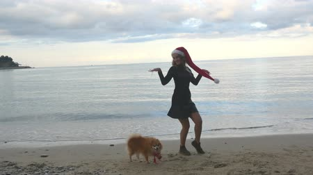 Christmas and holiday concept. Funny woman in Santa hat having fun over sea background. Pomeranian Spitz in Santa hat walking around.