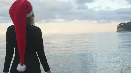Backside view of woman in Santa hat and black dress standing calmly and looking at sea