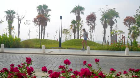 Teenage girl in roller-skates skating on the beautiful city park road with palms and red flowers Stok Video