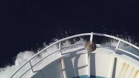 crush : Ships bow, moving through the waves to the destination in slow motion. View from forecastle deck. Stock Footage