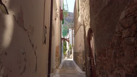 Эгейский : Narrow street in Kastelorizo, Greek island Meis Стоковые видеозаписи