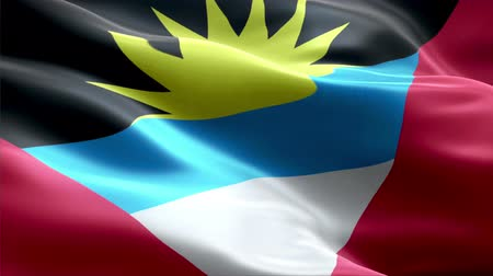Antigua and Barbuda waving 3D flag Wideo