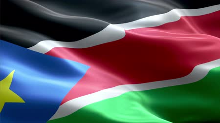 South Sudan waving 3D flag Wideo