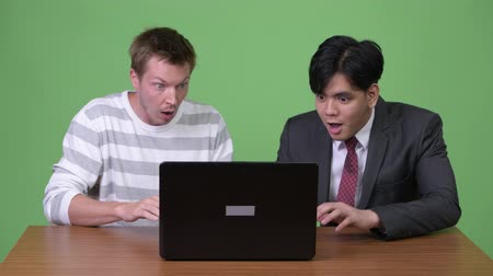 skandináv : Young Asian businessman and young Scandinavian businessman working together with laptop