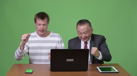 raising fist : Mature Japanese businessman and young Scandinavian businessman working together Stock Footage