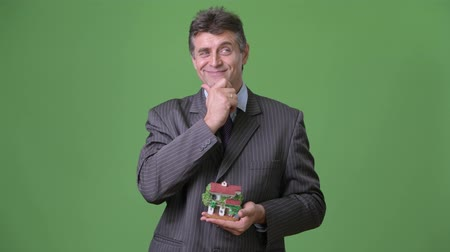 heykelcik : Mature handsome businessman against green background Stok Video