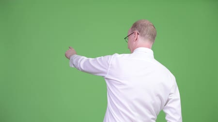 looking distance : Rear view of mature bald businessman pointing finger