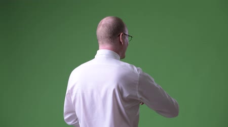 looking distance : Rear view of mature bald businessman pointing finger and directing
