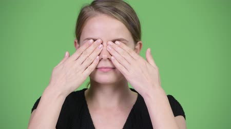 sayings : Young beautiful businesswoman covering eyes as three wise monkeys concept Stock Footage