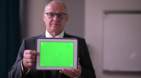 finnish : Happy Senior Businessman Showing Digital Tablet By The Window