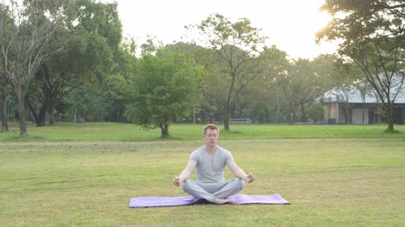 fince : Young happy man meditating with eyes closed at the park Stok Video