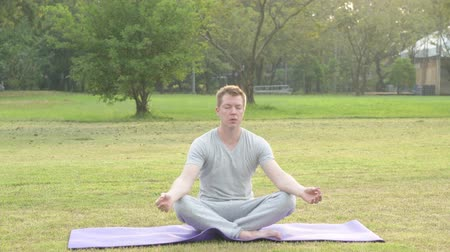 fince : Young handsome man relaxing while meditating at the park
