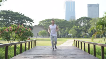 teljes test : Healthy young man jogging towards wooden bridge at the park