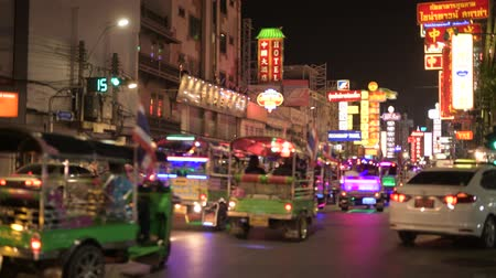 yaowarat road : Busy street of Chinatown in Bangkok with Thai tuktuk and taxis at night