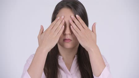 bölcs : Face of young multi-ethnic businesswoman covering eyes as three wise monkeys concept