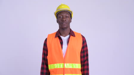 guinean : Young handsome African man construction worker