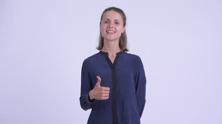 human like : Happy young beautiful businesswoman giving thumbs up
