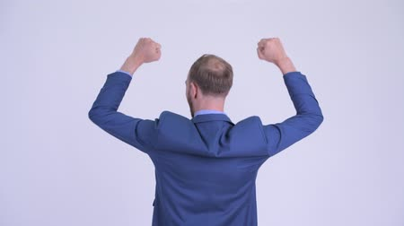 raising fist : Rear view of happy bearded businessman with fists raised Stock Footage
