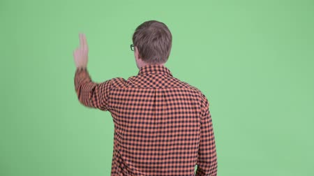 клетчатый : Rear view of young hipster man pointing finger Стоковые видеозаписи