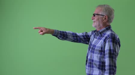 directing : Profile view of happy senior bearded hipster man pointing finger Stock Footage