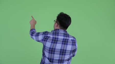 přímý : Rear view of young overweight Asian hipster man pointing finger and directing