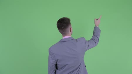 directing : Rear view of young businessman pointing finger