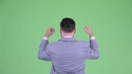 raising fist : Rear view of happy young bearded businessman with fists raised Stock Footage