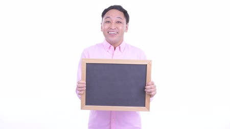 lousa : Happy Japanese businessman holding blackboard and getting good news