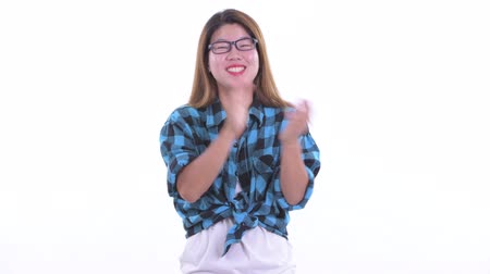 Happy young Asian hipster woman clapping hands Dostupné videozáznamy