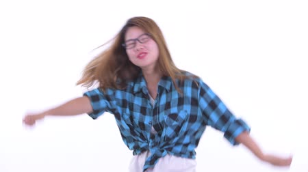 Happy young Asian hipster woman dancing Dostupné videozáznamy