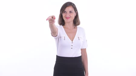 direkt : Happy beautiful businesswoman pointing finger and directing Stok Video