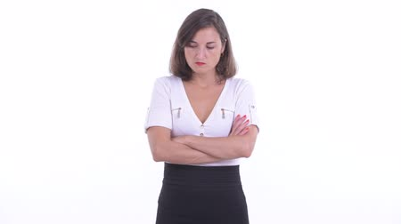 crossed : Stressed businesswoman looking angry with arms crossed