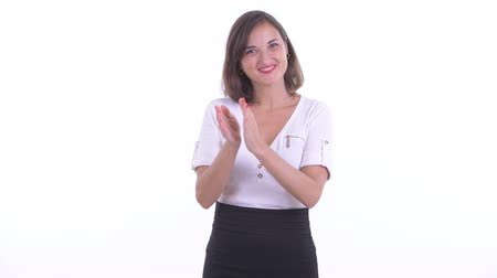 ovation : Happy beautiful businesswoman clapping hands
