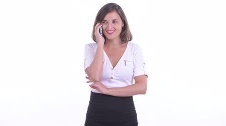 calling telephone : Happy beautiful businesswoman talking on the phone Stock Footage