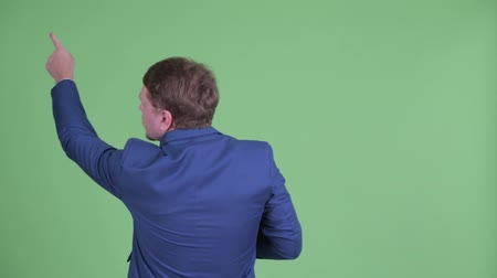directing : Rear view of overweight bearded businessman pointing finger and directing