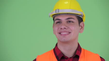 pensamiento positivo : Face of happy young multi ethnic man construction worker thinking