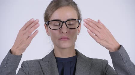 covering : Face of young beautiful businesswoman covering eyes as three wise monkeys concept Stock Footage