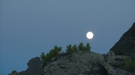 fullmoon : Moon in the mountains. Stock Footage