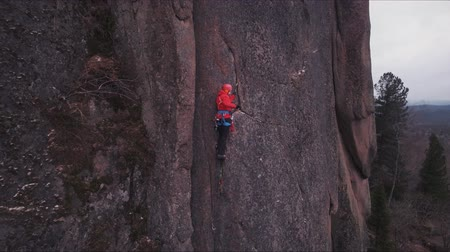 fearless : Climber on the rock. Training climbers.