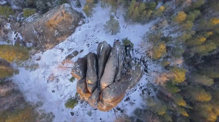 genel bakış : Aerial shot of the rocks in winter in Siberia.