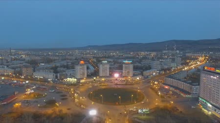 viewpoint : Krasnoyarsk, Russia - 3 may, 2018: Aerial view of the night panorama of the roundabout in the city center. Stock Footage