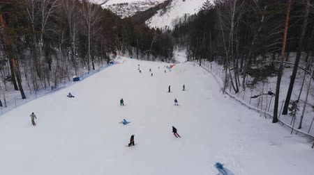 Aerial shot of ski resort. Стоковые видеозаписи