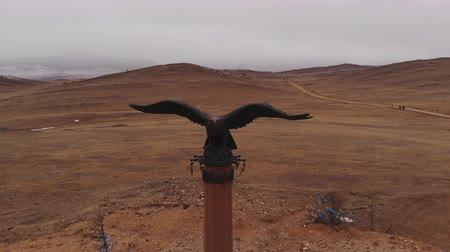 The shaman eagle column in the Tazheranskaya steppe.