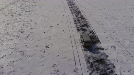 Car on a ice road. Travel to winter Baikal.