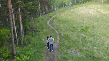 Aerial shot of a young couple running down a forest path. 動画素材