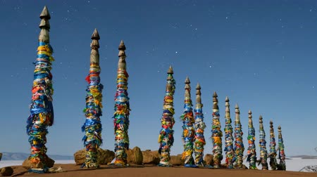 Shaman pillars on the island of Olkhon lake Baikal.