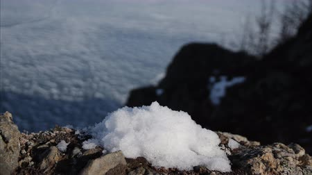 taje : Timelapse of snow melts on a rock.