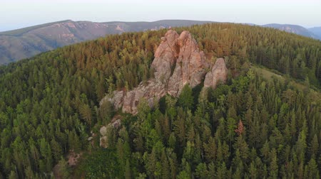 pilares : Aerial view of rocks and forest nature reserve Pillars at sunset.